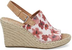 98662391429 Poppy Watercolor Floral Women s Monica Wedges