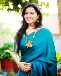 Discover thousands of images about Manju Warrier Beautiful Photos & Mobile Wallpapers HD (Android/iPhone) - Silk Saree Blouse Designs, Saree Blouse Patterns, Fancy Blouse Designs, Indian Beauty Saree, Indian Sarees, Silk Sarees, Blue Silk Saree, Saris, Festivals