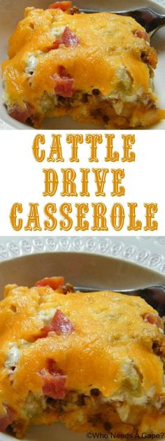 Cattle Drive Casserole, the ultimate comfort food. Layers of cheese, meat and mo… Cattle Drive Casserole, the ultimate comfort food. Layers of cheese, meat and more cheese make for this satisfying casserole beyond delicious. Bisquick Recipes, Cattle Drive, Macaron, Casserole Dishes, Potato Casserole, Breakfast Casserole, Mexican Casserole, Cowboy Casserole, Burrito Casserole