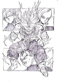 Trunks, Vegeta, Goku Black, and Zamasu