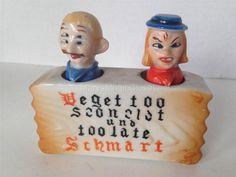 Vintage Bobblehead Nodder Woman & Man PATENT T.T. Salt & Pepper Shakers Japan
