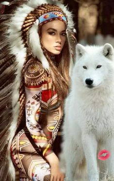 An Indian and her wolf monde indien Native American Wolf, American Indian Girl, Native American Pictures, Native American Artwork, Native American Quotes, Native American Beauty, Native American Artists, American Women, American Indians