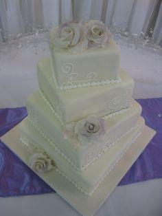 simple wedding square cake design | ... Square Ivory Pearl Fondant Unique Modern Wedding Cake Design Picture