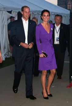 For the evening Canada Day concert, Kate slipped into a vibrant purple Issa dress and pulled her royal mane into a chic updo. She accessorized with a diamond maple-leaf shaped brooch on loan from the Queen