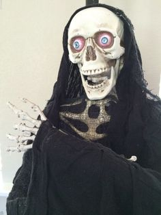 new animated 5 foot reaper lighted eyes talking moving jaw life size sound video halloween decorations - Talking Halloween Skeleton