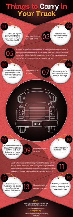 Here are some things you should carry in your truck. #Trucking #Infographic