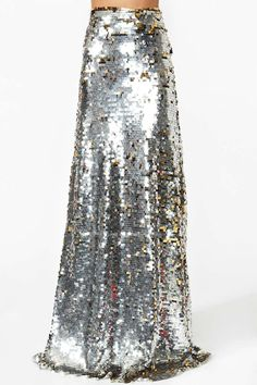 Gina Sequin Maxi Skirt  Long high-waist maxi skirt covered in silver and gold sequins!