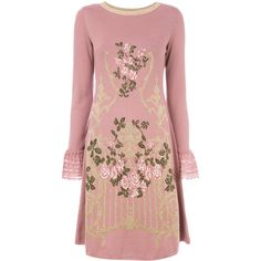 Alberta Ferretti floral embroidered and lace trim sweater dress (68.780 RUB) ❤ liked on Polyvore featuring dresses, pink, long sleeve floral dress, floral embroidery dress, floral embroidered dress, embroidery dress and floral dresses