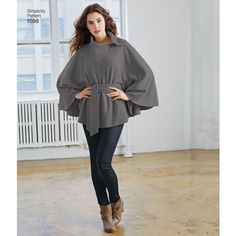Misses' fleece ponchos feature a cut and glue technique (no sewing needed), and the wraps require just a few simple seams for an easy beginner project. One size fits most. Simplicity sewing pattern.