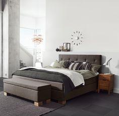 Jensen Carat continental bed in Brown textiles.