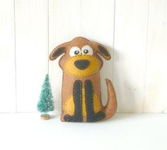 Stuffed Dog PATTERN // Sew by Hand Plush Felt Stuffed Animal Dog PDF // Easy to Make