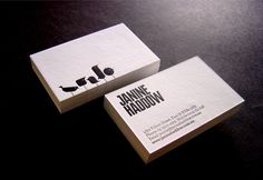 Janine Haddow business cards letterpress printed in 1 colour 2 sides on Stephen Chilled white 330gsm card then triplexed together with black 140gsm inserted.  Designed by Latitude.