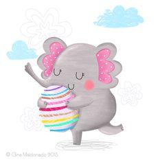 Elephant and egg © Gina Maldonado 2015 http://gigilikestodraw.blogspot.hk #elephant #cute #illustration
