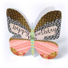 """Beautiful butterfly birthday card for mums, with caption: """"Happy birthday Mum"""""""