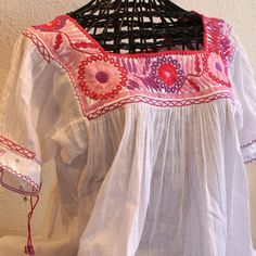 Pink, Rose, & Lilac Embroidered Chiapas Blusa