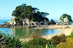 Torlesse Rock, Kaiteriteri, Tasman Region, New Zealand Royalty Free Stock Photo Abel Tasman National Park, New Zealand Landscape, Fresh Image, Seaside Towns, Turquoise Water, South Island, Image Now, National Parks, Scenery