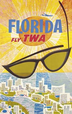 Miami, Florida - Trans World Airlines Fly TWA - Vintage Airline Travel Poster by David Klein - Master Art Print - x Vintage Florida, Old Florida, Florida Travel, Miami Florida, Florida Tourism, Miami Beach, Orlando Florida, South Florida, Palm Beach
