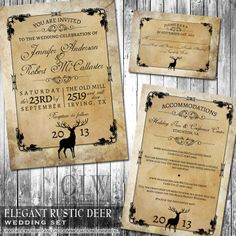 Rustic Wedding Invitation Suite  Deer Wood Fall by OddLotEmporium, $55.00
