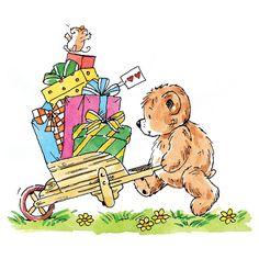 Bear pushing wheelbarrow with gifts