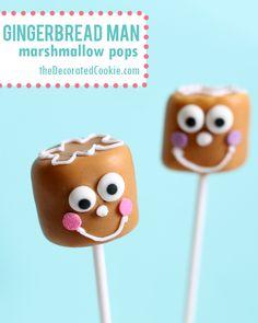 gingerbread man marshmallow pops for Christmas