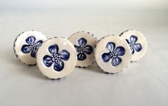 Delft Blue and White ceramic Flower Knobs by PeachBlossomStudio
