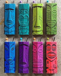 As part of the Shag Store Anniversary Celebration this Saturday, I've created 18 hand-painted tiki mug panels. Dremel Carving, Wood Carving, Tiki Decor, Tiki Totem, 8th Anniversary, Hawaiian Tiki, Tiki Mask, Tiki Hut, Tiki Tiki