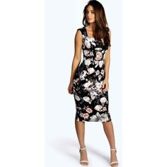Boohoo Ivy Floral Print Sweetheart Midi Bodycon Dress (1,620 INR) ❤ liked on Polyvore featuring dresses, sequin party dresses, midi cocktail dress, floral maxi dress, floral midi dress and floral dresses