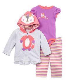 Look what I found on #zulily! Purple & Pink Raccoon Ruffle-Trim Hoodie Set - Infant #zulilyfinds