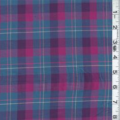 *1 3/4 YD PC--Blue/Fuschia Plaid Lawn - 11892-C1 - Fabric By The Yard. Fabrics At Wholesale Prices