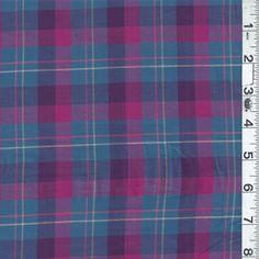 *1 YD PC--Blue/Fuschia Plaid Lawn - 11892-C1 - Discount Fabrics Denver Fabrics