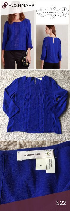 Anthro Meadow Rue Salina Blouse Beautiful shade of blue. VGUC.                                                                💖 bundle & save 🌀 offers welcome 📦 fast shipping Anthropologie Tops Blouses