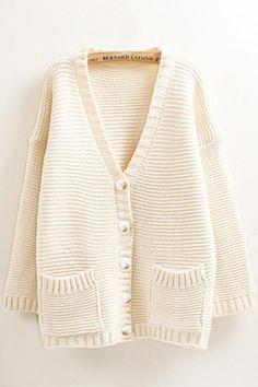 Two-Pocket V-neck Long Sleeve Loose Cardigan Sweater