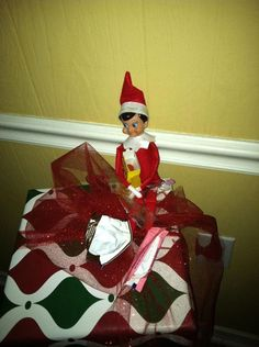 Elf on the shelf ate some holiday candy last night after visiting Santa