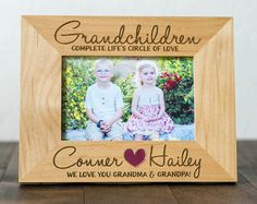 Grandchildren Picture Frame, 4x6 or 5x7 Photo, Grandparents, Gift for Grandma and Grandpa, Personalized and Engraved, Wood Picture Frame