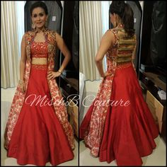All fired up lehenga by mischb Couture Choli Designs, Lehenga Designs, Indian Wedding Gowns, Indian Gowns Dresses, Evening Dresses, Wedding Dresses, Indian Designer Outfits, Designer Gowns, Indian Outfits