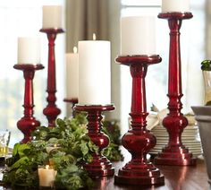 Red Mercury Glass Pillar Holders contemporary candles and candle holders