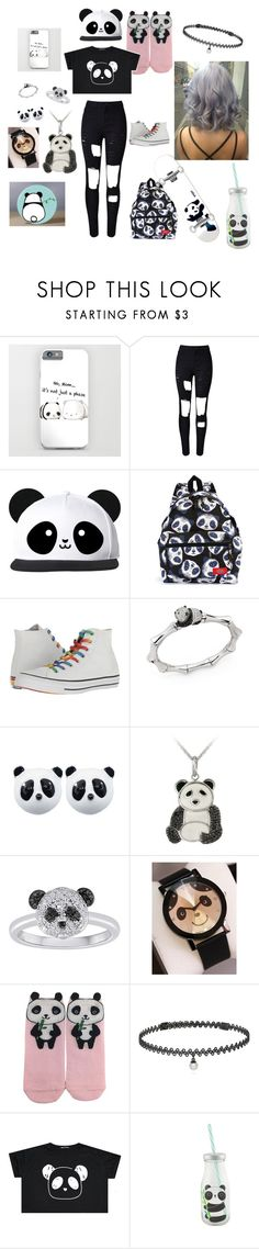 """""""Feeling Like Pandas"""" by kodalove ❤ liked on Polyvore featuring WithChic, Converse, Stephanie Deydier, Enjoi, DB Designs, Forever 21 and BERRICLE"""