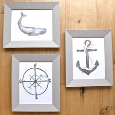 Out at Sea Nautical Nurser, Boys kids room- Set of 3 Original Art Prints, whale, anchor, compass by LittleFellaPrints on Etsy https://www.etsy.com/listing/251681767/out-at-sea-nautical-set-of-3-original