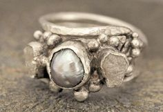 Rough Diamond and Freshwater Pearl Sterling Silver Wedding Band- Hammered Texture- Custom Made