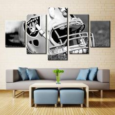 Oakland Raiders NFL Football 5 Panel Canvas Wall Art Home Decor