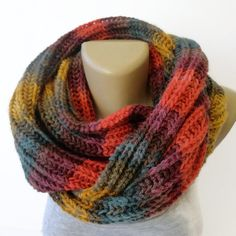 chunky infinity scarf ,unisex . winter fashion accessories ,knitted colorful scarves , scarf on Etsy, $35.00