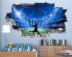 A Football Stadium wall decal perfect for a Boys Bedroom wall. An eye catching vinyl wall decal sure to bring a splash of colour to any room, turning a plain boring wall into a work of art. A wall art decal sticker to cherish, perfect for the home, office Boys Bedroom Wallpaper, Boys Bedroom Decor, Bedroom Themes, Boys Football Bedroom, Football Bedding, Vinyl Wall Stickers, Wall Decal, Wall Art, Cool Bedrooms For Boys