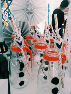 Olaf drinks at a Frozen Birthday Party!  See more party planning ideas at CatchMyParty.com!