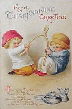 Boys with Wishbone Vintage Thanksgiving Postcard