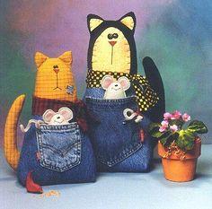 Arte Índia: Bichinhos em Tecido - Gatos