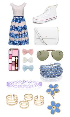 """""""Blue Casual"""" by bella1138 ❤ liked on Polyvore featuring Converse, Tory Burch, Decree, Ray-Ban, Accessorize, Sif Jakobs Jewellery and Marc by Marc Jacobs"""