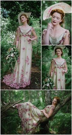 Elegant Belle Époque Edwardian inspired 'Gainsborough' wedding dress in rose lavender green silk and lace by Joanne Fleming Design, romantic woodland forest fashion shoot. Photography; @jacquimacphoto / Millinery; @lomaxandskinner / MUA; @harrietrainbow / Hair; @simplybeautifulweddinghair / Flowers; @floweremporium / Model; Anne-Charlotte @mkmodelmanagement