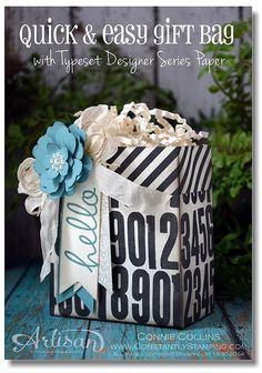 easy gift bag with Typeset DSP Stampin' Up! Craft Bags, Craft Gifts, Pretty Packaging, Packaging Ideas, 3d Paper Crafts, Stampin Up Catalog, Christmas Gift Wrapping, Easy Gifts, Easy Peasy