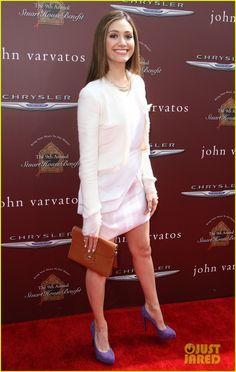 Emmy Rossum rocks a Katharine Kidd dress, Barbara Bui pumps
