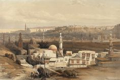 David Roberts RA (1796-1864) and Louis Haghe. Cairo from the Gate of Citzenib, looking towards the Desert of Suez. #egypt